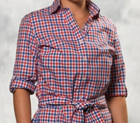 Red and Blue Gingham Check Shirt Dress