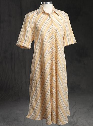 Ladies Linen Flair Striped Dress Orange/Yellow/Red