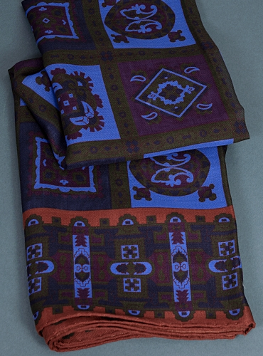 Wool and Silk Medallion Printed Scarf