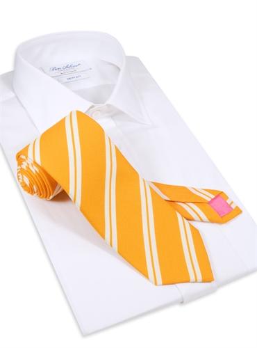 Silk Panama Weave Striped Tie in Sun