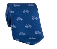 Silk Print Bicycle Motif Tie in Navy with White