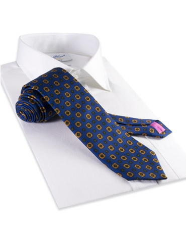 Silk Flower Motif Tie in Cobalt