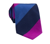 Silk Woven Multi Stripe Tie in Fuchsia, Azure, Navy