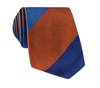 Silk Block Stripe Tie in Azure, Gold, Royal Blue and Spice