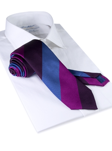 Silk Stripe Tie in Fuchsia, Cobalt and Plum