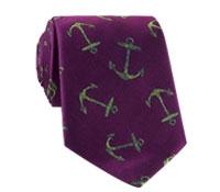 Silk Woven Anchor Motif Tie in Magenta