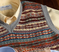 Lambswool Fair Isle Sweater Vest in Grey