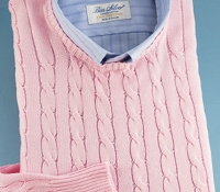 Cotton Cable Knit Crewneck Sweater in Blush