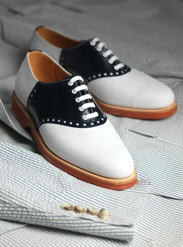 The Princeton Saddle Shoe in Navy Leather & White Nubuck