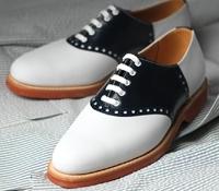 The Princeton Saddle Shoe in Navy Leather & White Nubuck