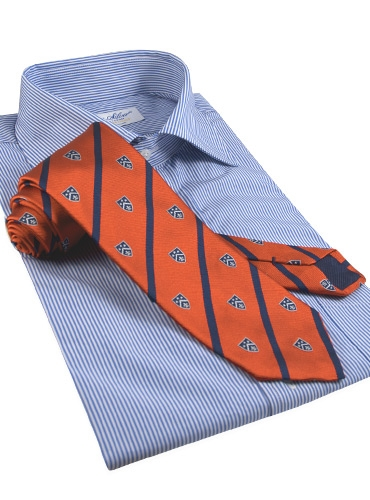 Silk Woven Club Tie in Chili
