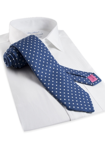 Cotton Print Dot Tie in Regal