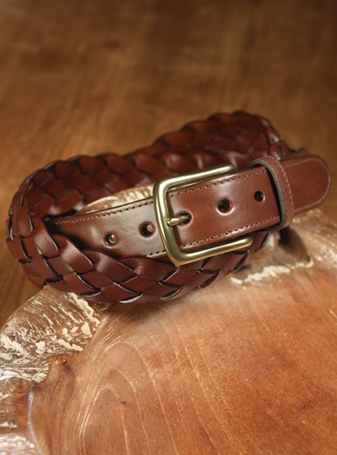 Brown Woven Belt with Leather Tabs