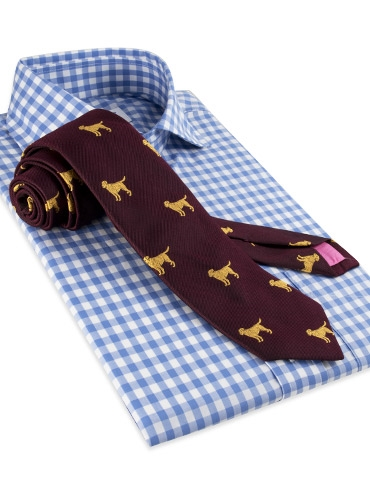 Silk Woven Tie with a Labrador Motif in Bordeaux