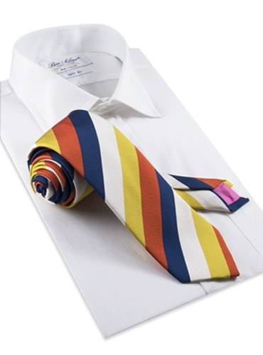 Mogador Stripe Tie in Gold and Tangerine