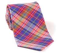 Woven Plaid Tie Purple, Red & Green