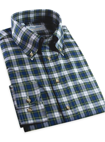 Navy, Green and White Plaid Button Down