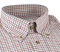 Tattersall Check Brushed Cotton Button Down in Red, Light Blue, and Navy