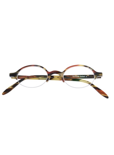 Semi-Rimless Oval Frame in Red Marble