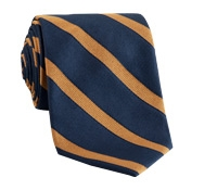 Silk Striped Tie in Navy with Oak