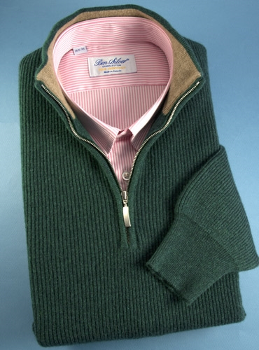 Cashmere Half Zip Sweater in Forest