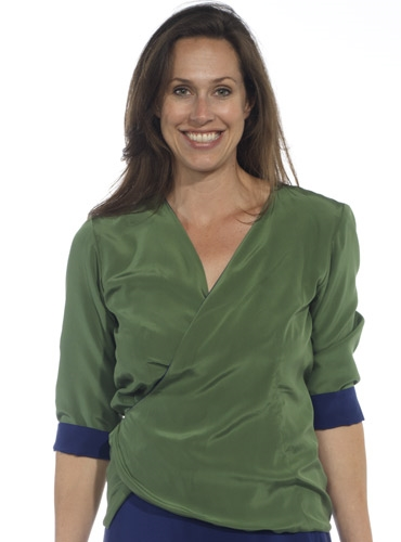 Marie Meunier Reversible Wrap Blouse in Green and Blue