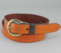 Tan Leather Belt with Brass Buckle