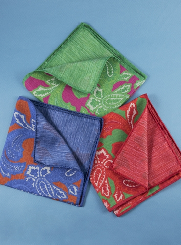 Silk and Linen Paisley & Solid Reversible Pocket Squares