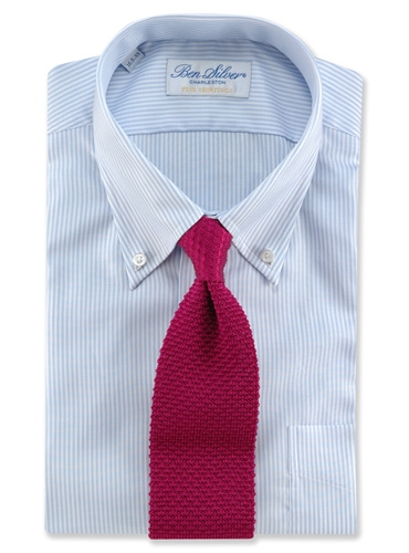 Classic Silk Knit Tie in Raspberry