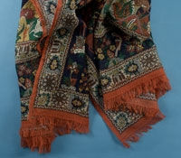 Cotton and Cashmere Blend Flora Fauna Scarf in Navy