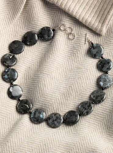 Larvikite and Black Onyx Necklace