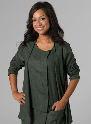 Draped Blouse in Green Herringbone