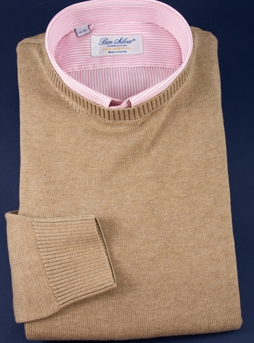 Cotton Crewneck Sweater in Oatmeal
