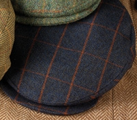 Wool Helmsley Motoring Cap in Navy with Orange Windowpane