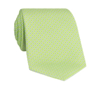 Silk Printed Dots Tie in Lime with Sky