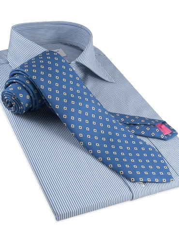 Diamond Printed Silk Tie in Regal