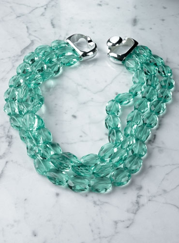 3 Strands Aquamarine Necklace
