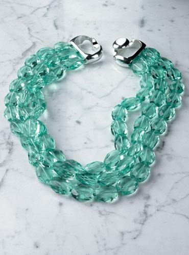 3 Strands Aquamarine Necklace