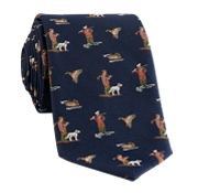 Silk Woven Hunting Tie in Navy