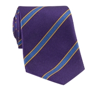 Silk Stripe Tie in Violet and Royal Blue