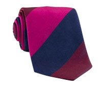 Silk Block Stripe Tie in Cranberry, Magenta, and Navy