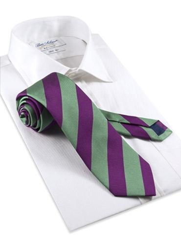 Silk Woven Block Stripe Tie in Mint and Purple