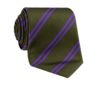 Silk Double Stripe Tie in Olive