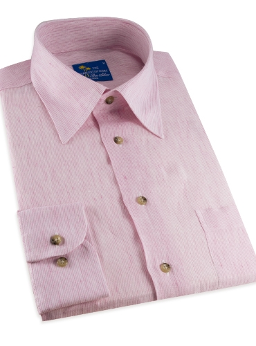 Charleston Linen Shirt in Pink and White Hairline Stripe