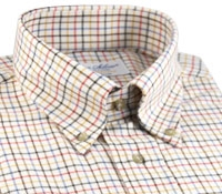 Tattersall Check Brushed Cotton Button Down in Yellow, Orange, and Brown