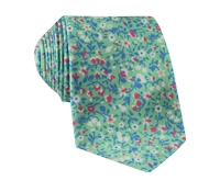 Silk Floral Printed Tie in Mint