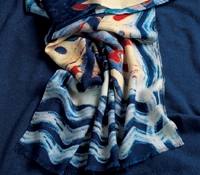 Wool Abstract Scarf in Royal