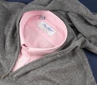 Cashmere Half-Zip Hoodie Sweater in Grey