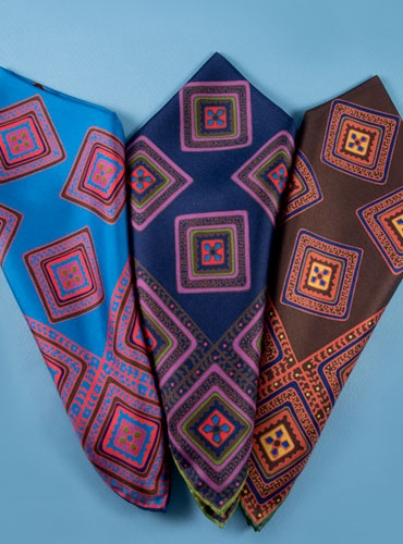 Silk Square Motif Pocket Square