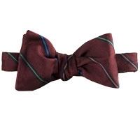 Silk Thin-Stripe Bow Tie in Cranberry